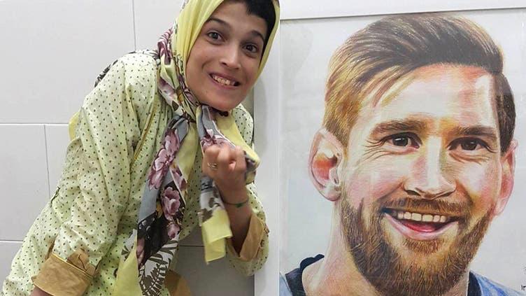 El increíble retrato de Lionel Messi pintado por una mujer que sufre parálisis en su cuerpo