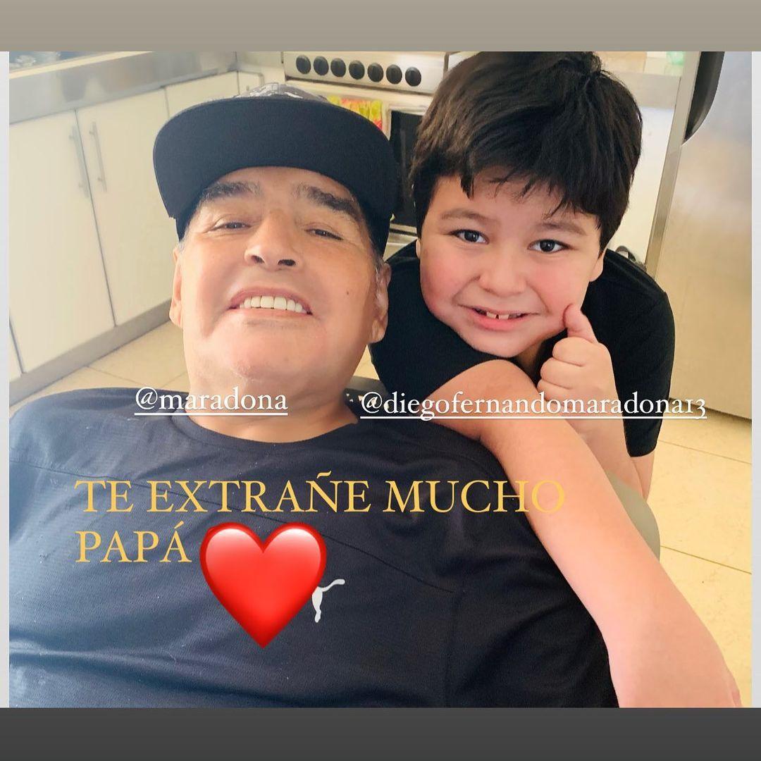 El emotivo mensaje del hijo menor de Maradona a su papá