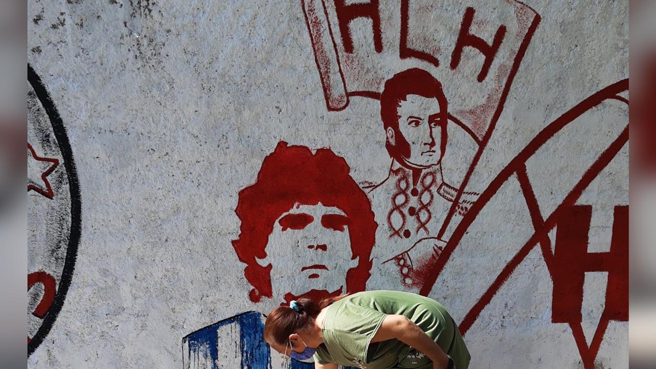 Huracán Las Heras y su homenaje a Maradona