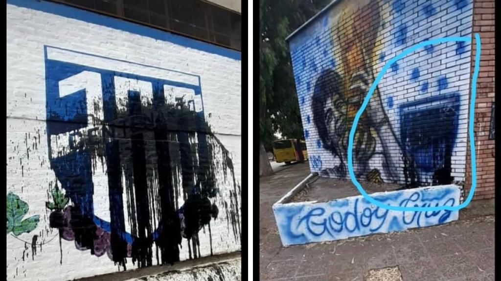 Escracharon los murales de Godoy Cruz por los 100 años