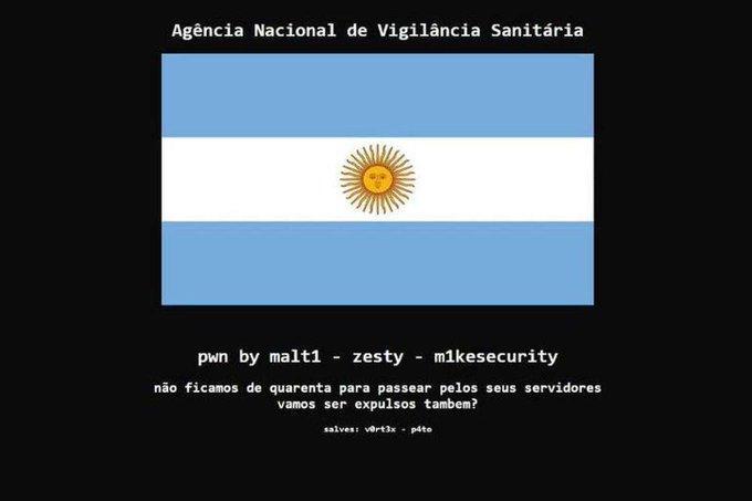 Hackearon la web de Anvisa y pusieron una bandera argentina